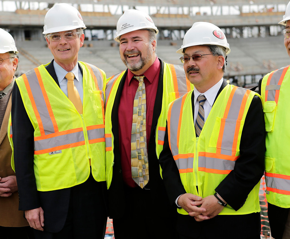 . Left to right: Chuck Reed, San Jose mayor, Jamie Matthews, Santa Clara mayor and Ed Lee, San Francisco mayor, attend a press conference by the Super Bowl Host Committee at the construction site of the new 49ers stadium in Santa Clara, Calif. on Wednesday, March 6, 2013. The Super Bowl Host Committee is competing against Miami for the bragging rights of hosting the 50th Super Bowl in 2016.  (Gary Reyes/ Staff)