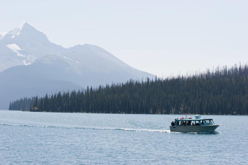 Boat on Maligne Lake