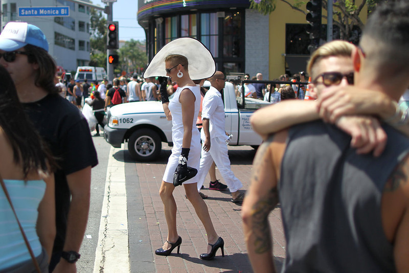 . Cross dresser Roxy Baltimore walks down Santa Monica Boulevard at the 43rd L.A. Pride Parade on June 9, 2013 in West Hollywood, California. More than 400,000 people are expected to attend the parade in support of lesbian, gay, bisexual and transgender communities.  (Photo by David McNew/Getty Images)