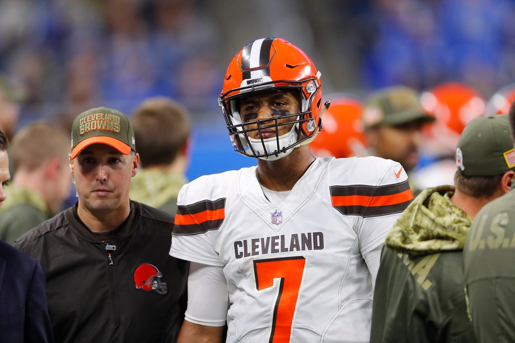 . Cleveland Browns quarterback DeShone Kizer walks off the field during the second half of an NFL football game against the Detroit Lions, Sunday, Nov. 12, 2017, in Detroit. (AP Photo/Paul Sancya)
