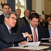 Gibraltar 11th December 2014 - The Chief Minister Fabian Picardo seen today signing an agreement with representatives of Bouygues for the construction and initial maintenance of a new electrical power station at Number Six Convent Place.