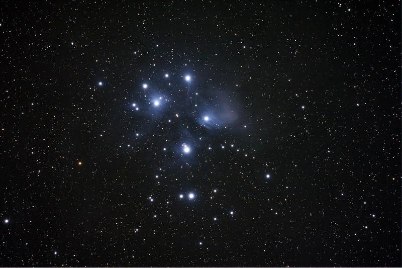 Messier M45 - Pleiades Seven Sisters Subaru Matariki - 30/11/2013 (Processed single image)