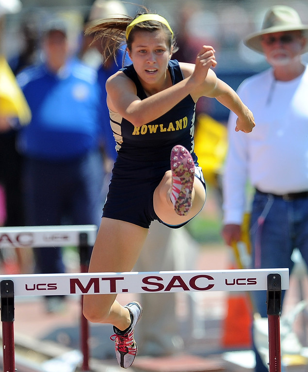 . Rowland\'s Desdrith Mejia in the 100 meter high hurdles during the CIF-SS track & Field championship finals in Hilmer Stadium on the campus of Mt. San Antonio College on Saturday, May 18, 2013 in Walnut, Calif.  (Keith Birmingham Pasadena Star-News)