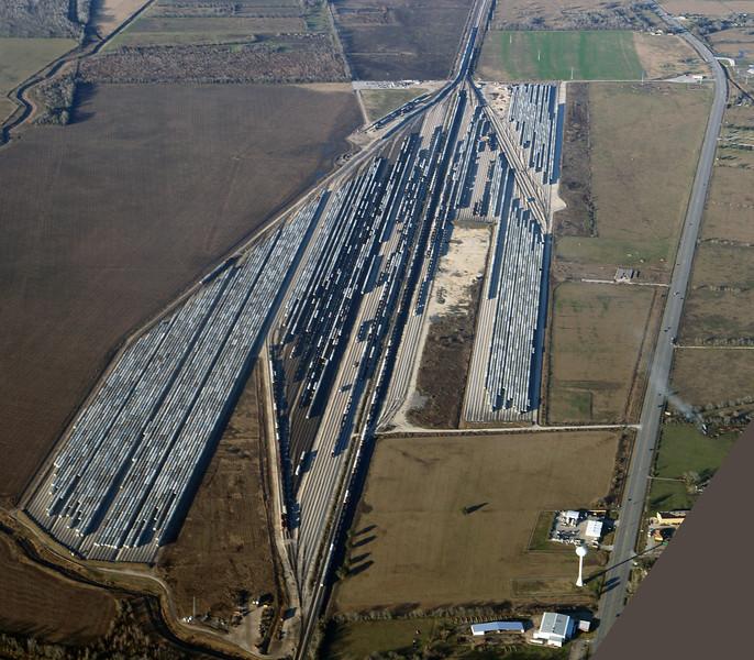 A huge railyard near Houston