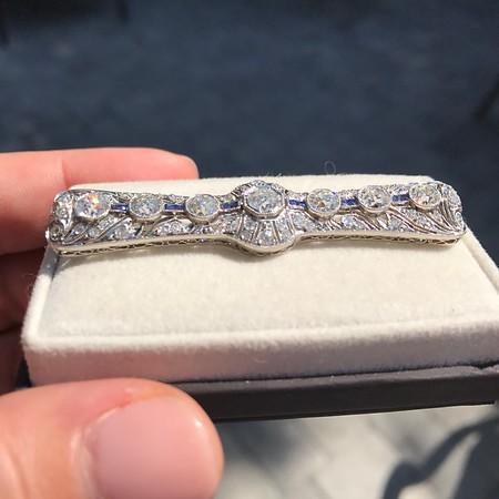 3.74ctw Art Deco Diamond and Sapphire Brooch