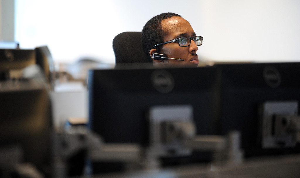 . Transmission Coordinator Julian Johnson works in the PG&E natural gas system regional primary control center in San Ramon, Calif., on Thursday, Aug. 5, 2013. The new facility controls the service area that stretches from Bakersfield to Eureka. (Dan Honda/Bay Area News Group)