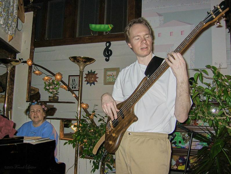 FL & Shirley Lebin, jamming at the Lebin house, Feb 24 2002.