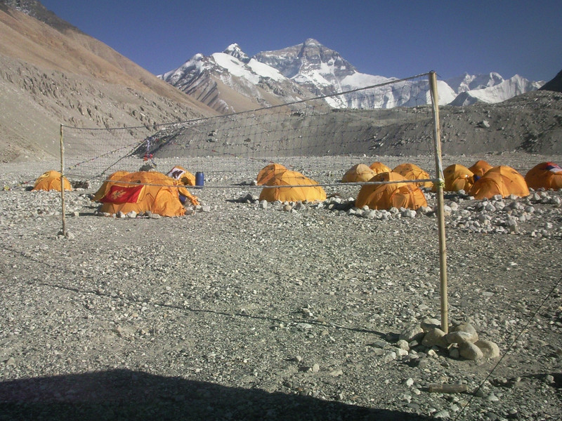 Volleybal playground at Base Camp. Wind did not allow any single game!