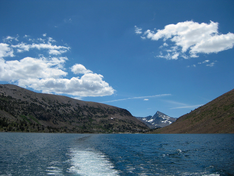 Almost at the end of the boat ride. In the background Mt. Dana. Dana couloir still full with snow and ice is visible too.