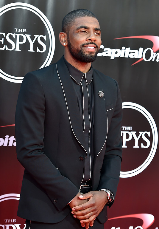 . NBA basketball player Kyrie Irving, of the Cleveland Cavaliers, arrives at the ESPY Awards at the Microsoft Theater on Wednesday, July 13, 2016, in Los Angeles. (Photo by Jordan Strauss/Invision/AP)