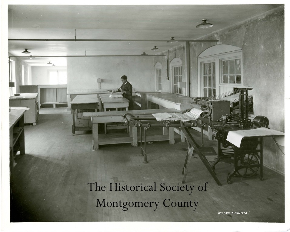 . This photo from the Historical Society of Montgomery County shows an interior view of The Times Herald in Norristown around 1930.
