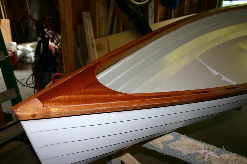 I used several coats of varnish on the mahogany trim.