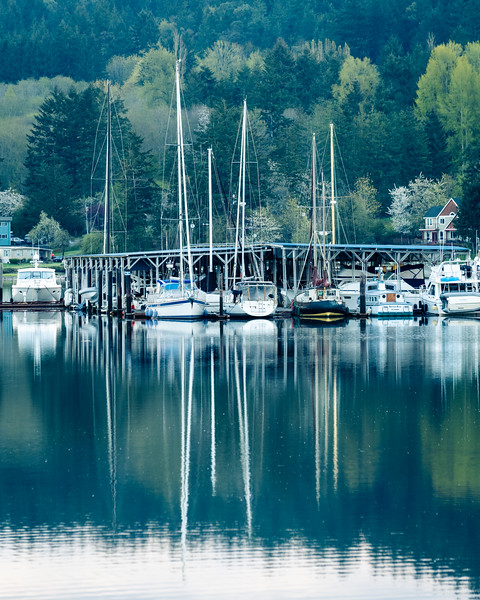 Springtime reflections, Gig Harbor, Washington.  I am looking thru photos from last April.  Can we hold on for another month?