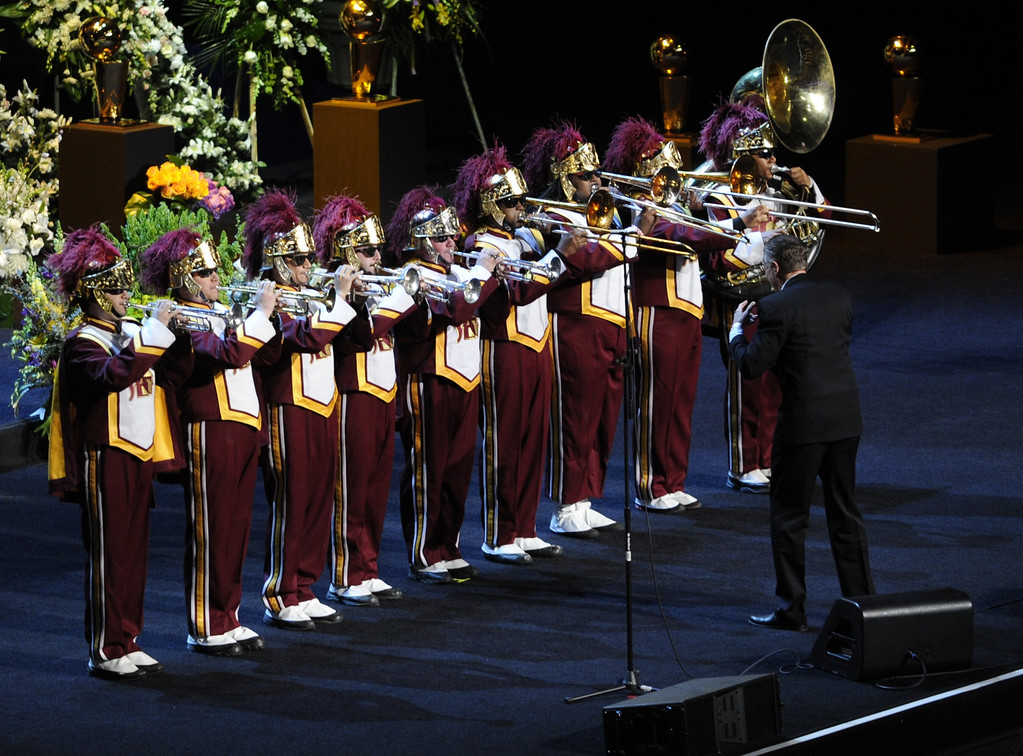 ". The USC band performed ""Amazing Grace\"". Family, friends current and former Lakers players and coaches attended a memorial service at the Nokia Theatre for Laker owner Jerry Buss who passed away on Monday, 2/18/2013 as a result of cancer. Los Angeles, CA 2/21/2013 John McCoy/Staff Photographer"