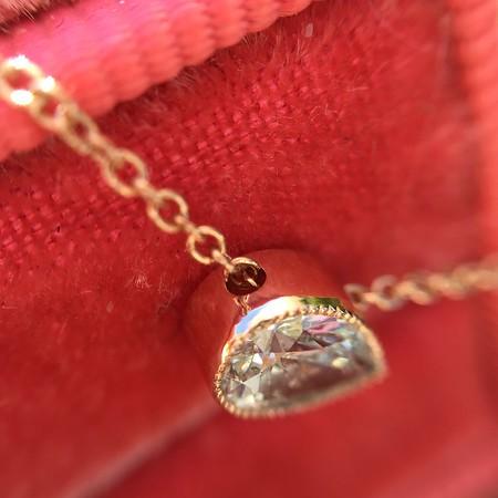 .41ct Pear Shaped Diamond Bezel Pendant, Rose Gold