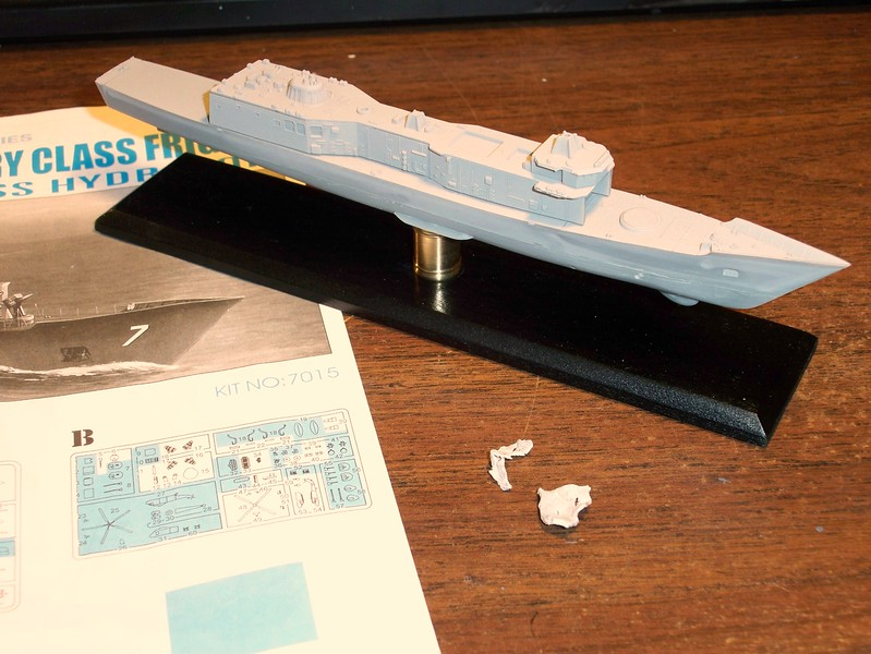 101016 FFG-7 in 1/700-scale (Dragon Kit) hull assembly.  Fragments are forward bulkhead, eaten by Brandy, my golden retriever.