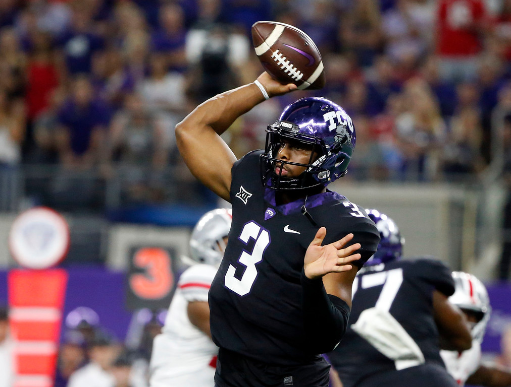 . TCU quarterback Shawn Robinson (3) throws against Ohio State during the first half of an NCAA college football game in Arlington, Texas, Saturday, Sept. 15, 2018. (AP Photo/Michael Ainsworth)