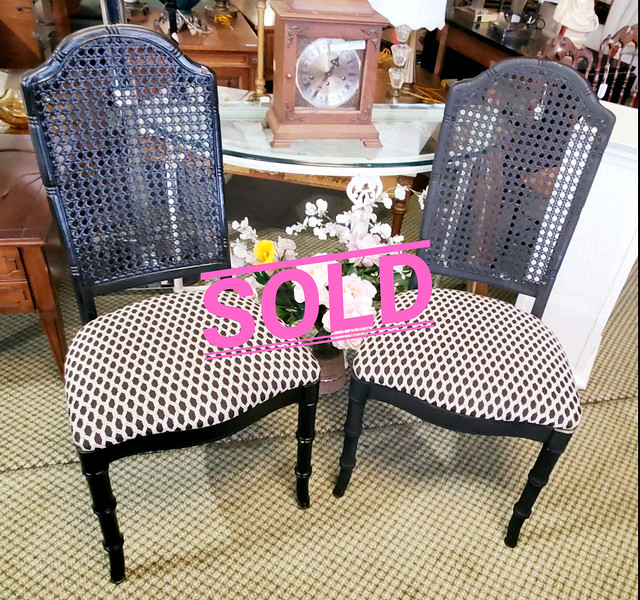 Black Wicker Back Chairs