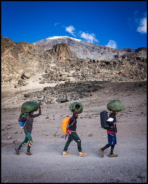 Porters on route to Barafu Camp