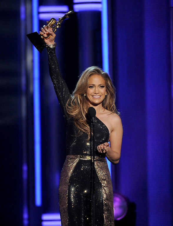 . Jennifer Lopez accepts the icon award at the Billboard Music Awards at the MGM Grand Garden Arena on Sunday, May 18, 2014, in Las Vegas. (Photo by Chris Pizzello/Invision/AP)