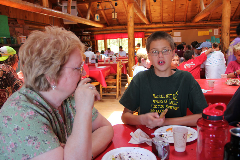 Eating lunch on visiting day
