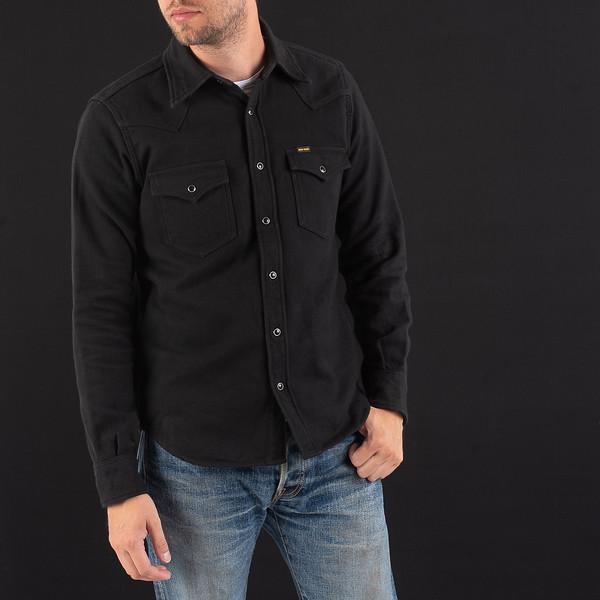 Black Ultra Heavy Flannel Plain Herringbone Western Shirt-5312.jpg