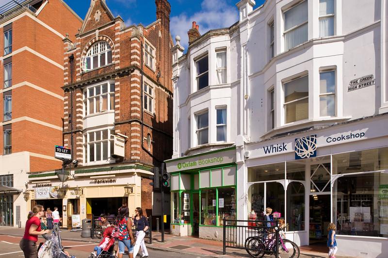 Shops overlooking The Green, Ealing, W5, London, United KIngdom
