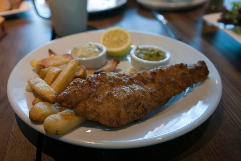 fish and chips from a pub in London Heathrow Airport
