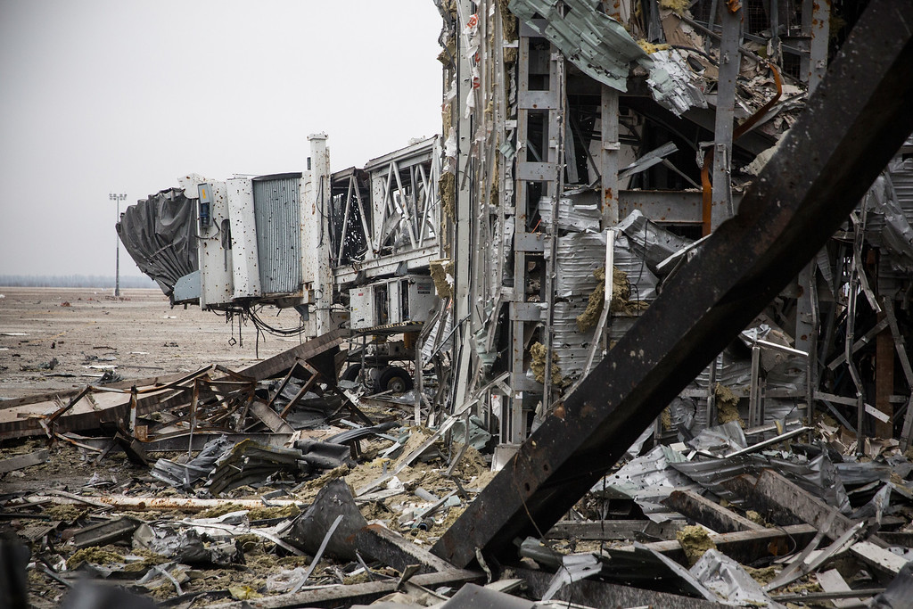 . DONETSK, UKRAINE - FEBRUARY 26:  The destroyed Donetsk airport is seen on February 26, 2015 in Donetsk, Ukraine. The Donetsk airport has been one of the most heavily fought over pieces of land between the Ukrainian army and pro-Russian rebels.  (Photo by Andrew Burton/Getty Images)