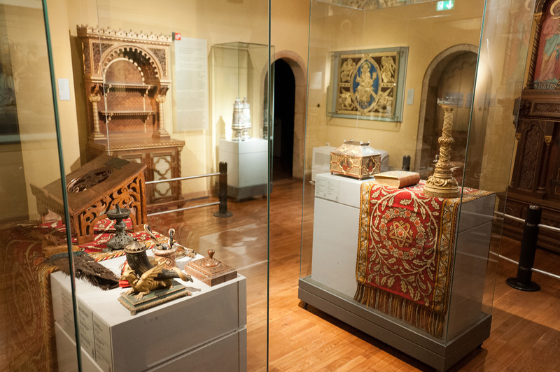 Artifact display inside Wartburg in Eisenach, Germany