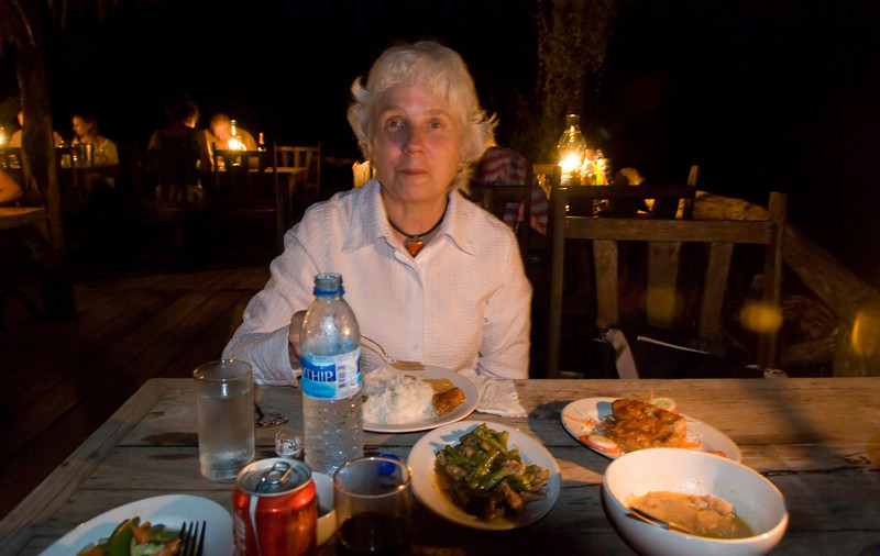 Dinner at Jungle Rafts.  No electricity at this hotel.