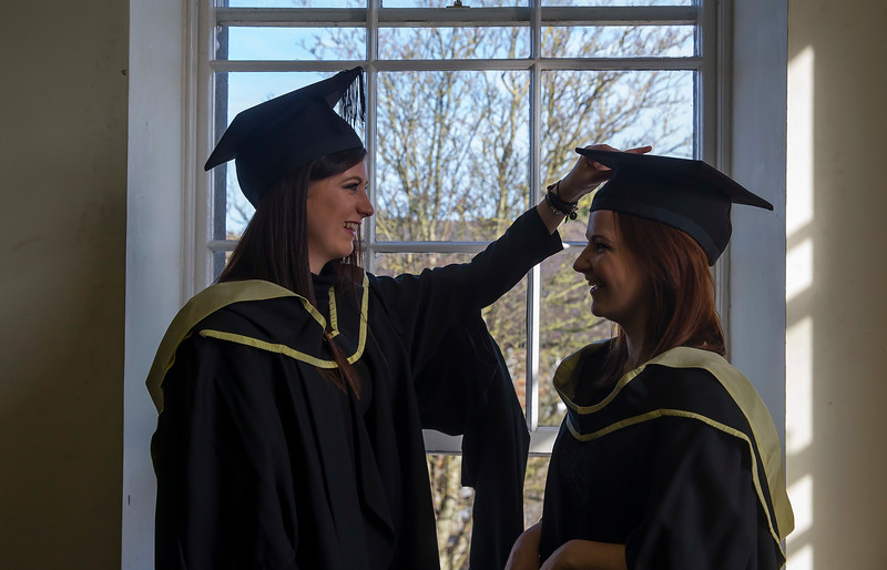 WIT (Waterford Institute of Technology) conferring ceremony at WIT College Street Campus, Waterford. Pictured are graduates Roisin Kavanagh, Carlow and Kelley Walsh, Wexford who graduated Masters of Business. Picture: Patrick Browne
