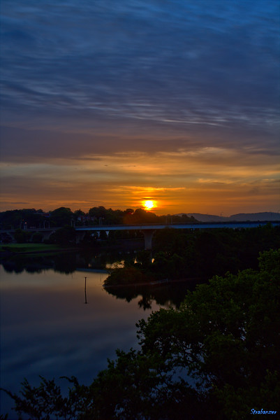 Sunrise from Walnut Street Bridge Chattanooga, TN, 07/14/2019 This work is licensed under a Creative Commons Attribution- NonCommercial 4.0 International License