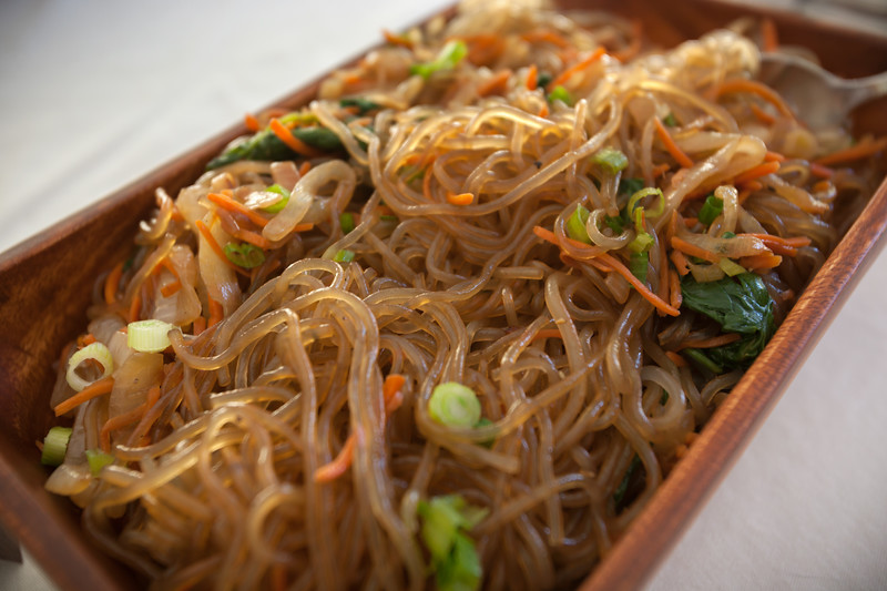 Though not Hawaiian, Valerie has made Korean Glass Noodles for many parties...and they go really well with Kalbi, which I will be grilling once guests arrive