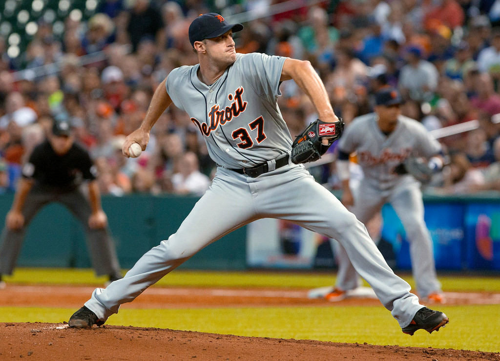 . Detroit Tigers\' Max Scherzer pitches against the Houston Astros during a baseball game Saturday, June 28, 2014, in Houston. The Tigers won 4-3. (AP Photo/The Courier, Jason Fochtman)