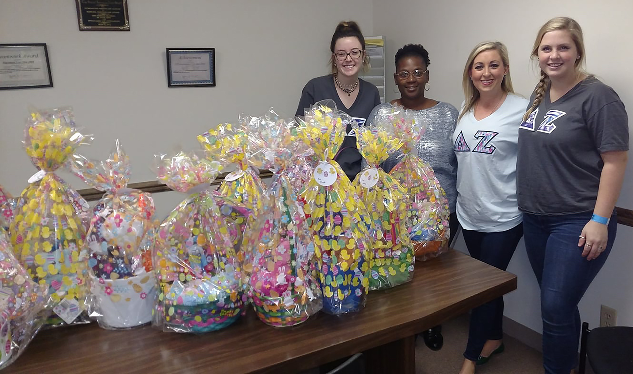 Allison Wilkinson (second from right) and members of her sorority made Easter baskets for local children in need.
