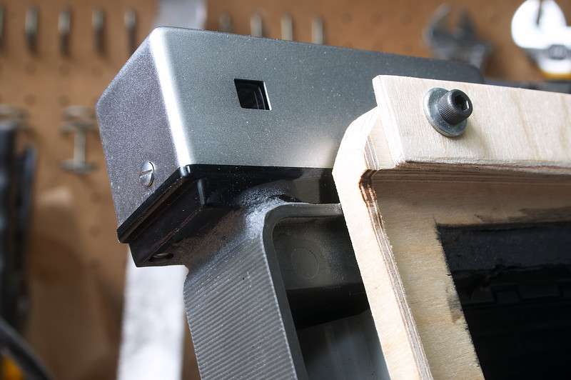 Rangefinder epoxied on and corner of adapter sanded to make it easier to put your face up to it