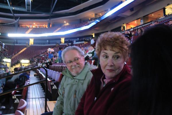 Mom and Das Visit Hockey Game Dec 2009