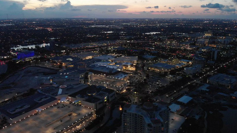Aerial night shot of Aventura Mall Florida cinematic 4k