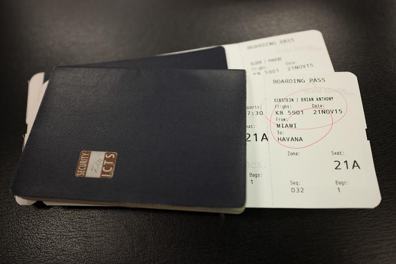Charter flights.  MIA-HAV on World Atlantic.  HAV-MIA on American Airlines.