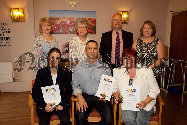 Pictured are staff at Ardmaine Care Home who received Rock Awards, Adnan hussein, Alexe Martins and Jackie Toothill. Also pictured are Rose Tumilty, Lorraine Thompson (Regional Manager), Ann Begley (Home Manager) and JP Watson (Director). R1526017