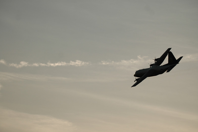 Air Force Blue Angels C130 doing a fly-over.