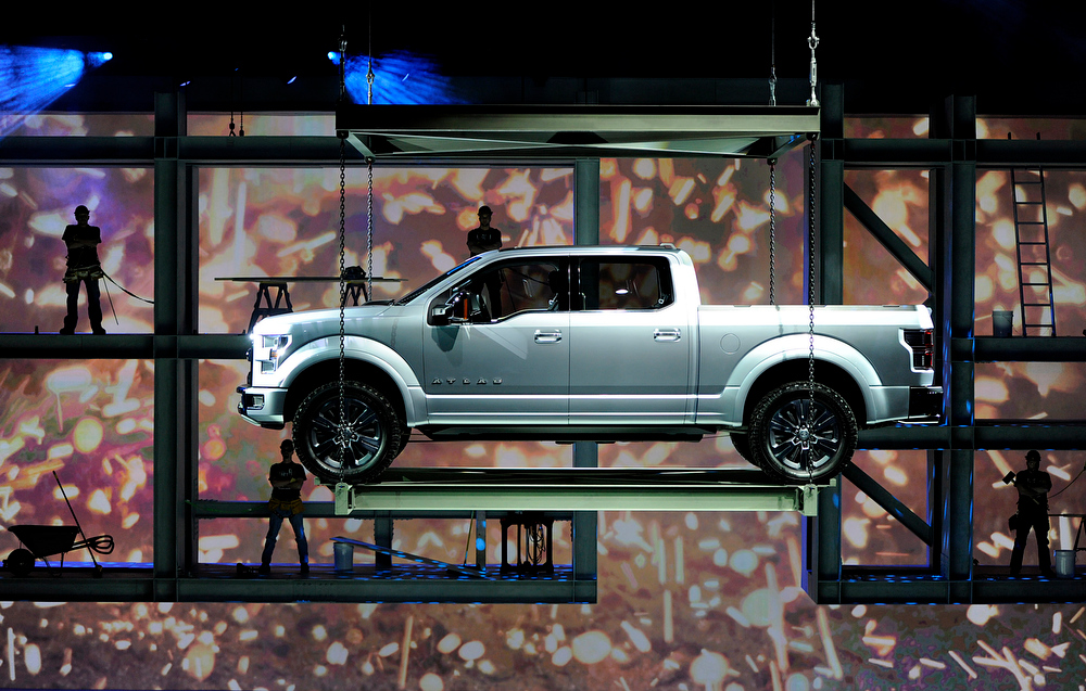 . The Ford Motor Co. F-150 Atlas concept truck is lowered during it\'s unveiling at the 2013 North American International Auto Show (NAIAS) in Detroit, Michigan, U.S., on Tuesday, Jan. 15, 2013. Ford Motor Co., trying to fend off new pickups from competitors targeting its top-selling F-Series, showed an F-150 prototype with features that boost fuel economy and foreshadow its future for the segment. Photographer: David Paul Morris/Bloomberg