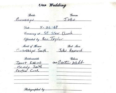 John & Gwen Sawyer's Wedding Photos April 1969