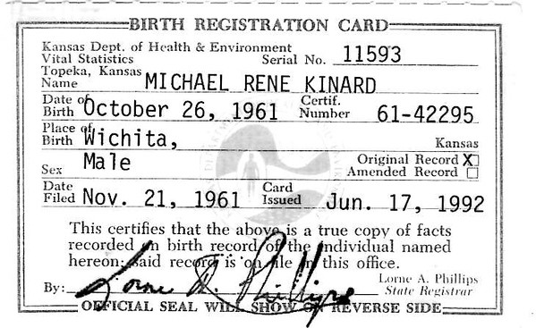 Birth Registration Card