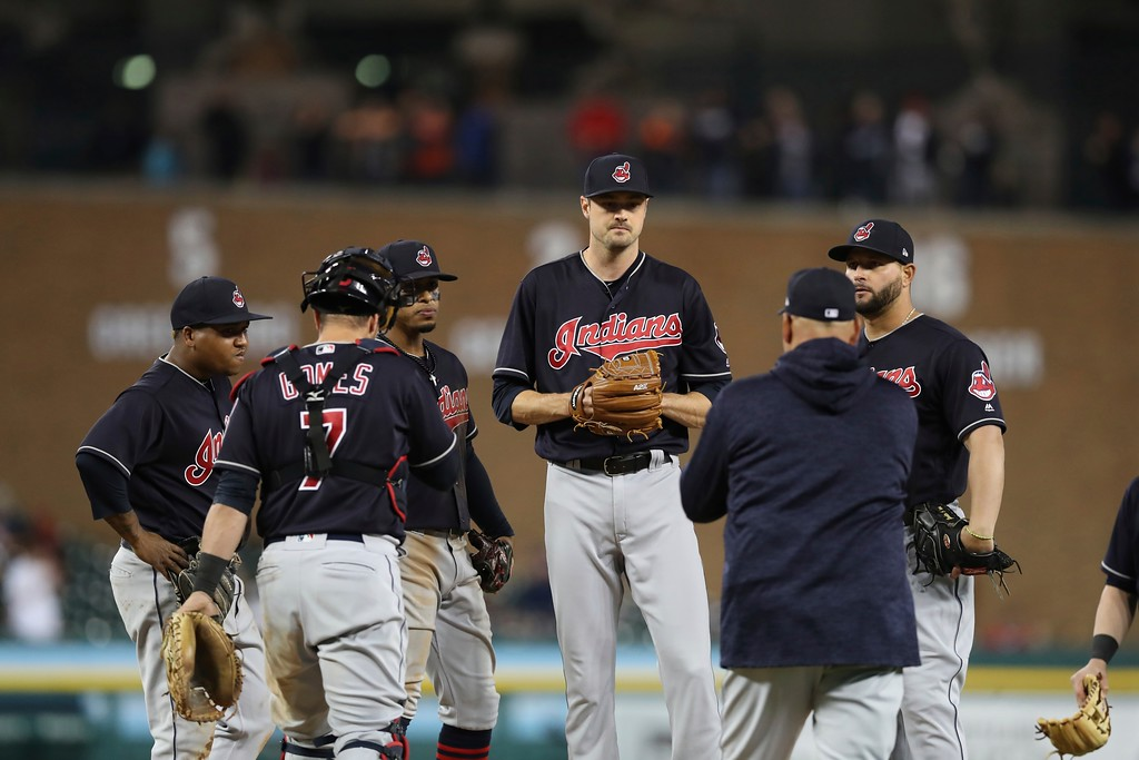 . Cleveland Indians relief pitcher Andrew Miller is relieved after giving up a bases loaded walk during the seventh inning of a baseball game against the Detroit Tigers, Tuesday, May 15, 2018, in Detroit. (AP Photo/Carlos Osorio)