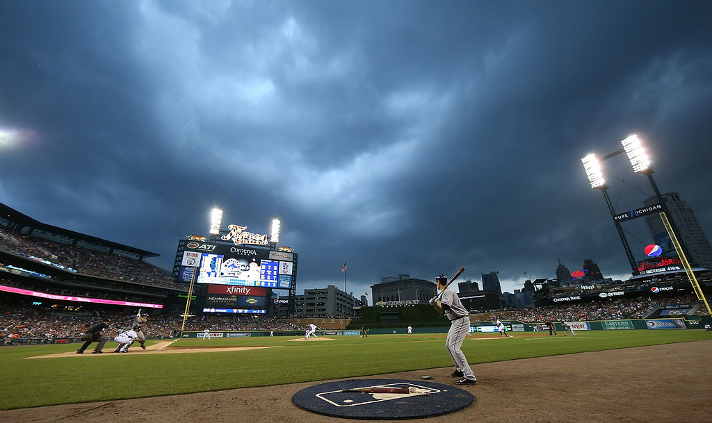 . DETROIT, MI - AUGUST 02: Storm clouds approach Comerica Park during the game against the Colorado Rockies and the Detroit Tigers on August 2, 2014 in Detroit, Michigan.  (Photo by Leon Halip/Getty Images)