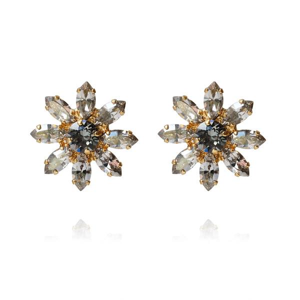 Night Flower Stud Earrings / Black Diamond / Gold