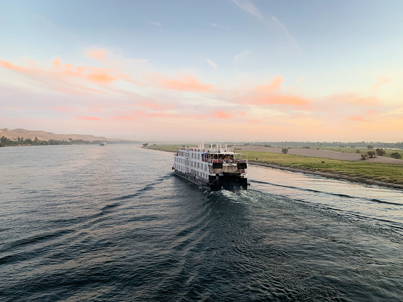 River Cruise Ship Sailing on the Nile River in Egypt