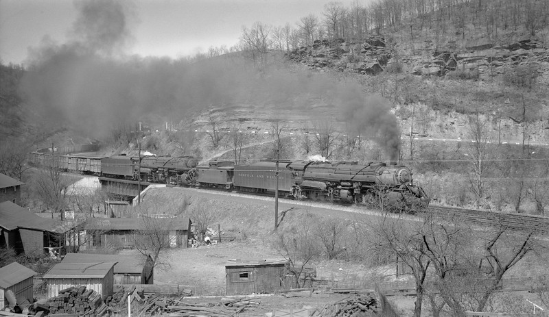 2018.15.N79.6212L--ed wilkommen 116 neg--N&W--steam locomotive 2-8-8-2 Y6b 2188 double-headed on freight train action--location unknown--no date
